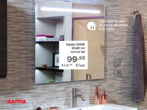 Espejo DENO aplique cromo luz led 80x80 cm